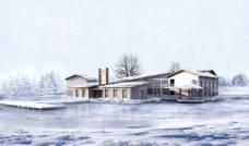 别墅雪景图片