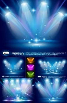 蓝色舞台聚光灯矢量图图片