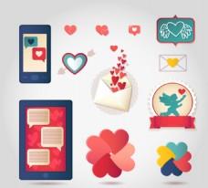 创意爱心元素标签