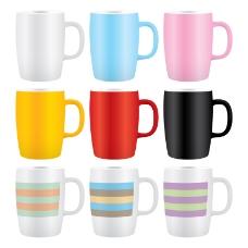 9款彩色马克杯矢量素材