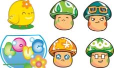卡通蘑菇 小鸡图片