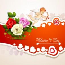 玫瑰花与丘比特卡片设计