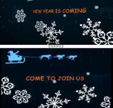雪花AE模板圣诞贺卡