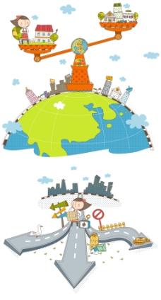 卡通城市插画