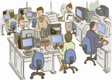 忙碌的辦公室矢量圖
