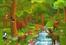 森林卡通动物图片