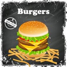 复古汉堡与薯条海报