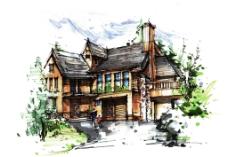 手绘别墅图片