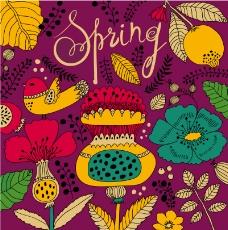 卡通春季花卉背景矢量素材