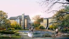 别墅与喷泉景观设计图片
