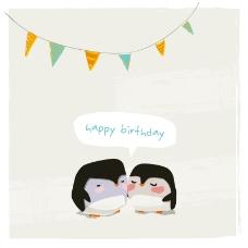 卡通企鹅生日背景矢量素材