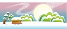 矢量插画,冬天雪景