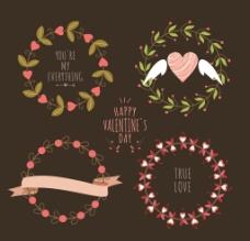 爱情手绘花环图片
