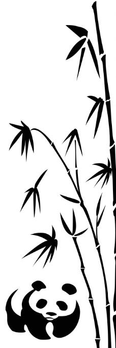 熊猫 竹子 硅藻泥花样图片