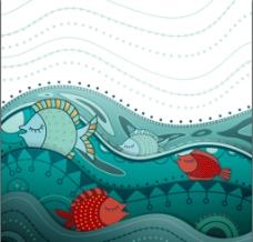 手绘矢量海面和鱼图片