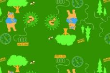 儿童服饰卡通印花布料循环图图片