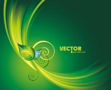 绿色弧线花纹叶子背景素材图片