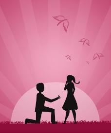 卡通情人节求婚图片