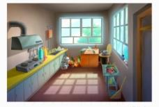 室内动画场景分层图片