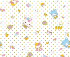 儿童服饰卡通熊印花布料循环图图片