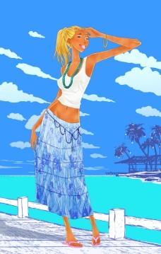 卡通手绘素材海边的美女