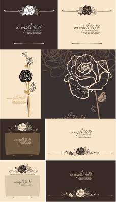 玫瑰折页棕色封面矢量素材