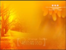 橙色精灵婚纱背景psd模板