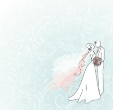 线描婚纱插画图片