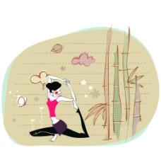 卡通插画瑜伽动作 侧身拉腿瑜伽图片