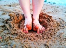 脚丫子 沙滩图片