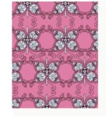 粉色花纹背景  蝴蝶花纹背景图片