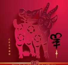 羊年剪纸海报图片
