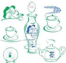 花瓶与杯子人物图片