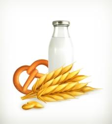 牛奶瓶小麦背景矢量素材