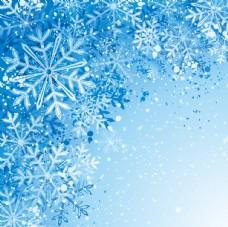 飞舞蓝色雪花背景矢量素材