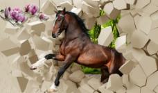 马奔腾背景墙图片
