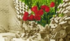 3D立体玫瑰背景图片