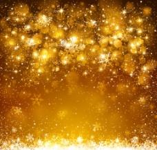 璀璨金色雪花光晕背景图片