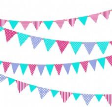 童趣节日三角拉旗背景矢量素材