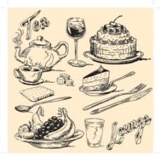 欧式手绘食物图片