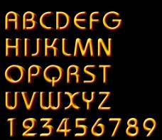 黄金立体字母和数字分层高清素材图片