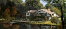 湖边别墅景观设计图片