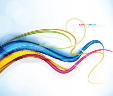 彩色矢量线条和光点背景图案图片