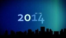 2015城市上空烟花新年快乐AE模板