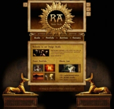 埃及风格网页模板(三页面)图片