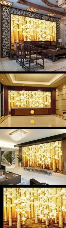 中式玉兰花电视背景墙