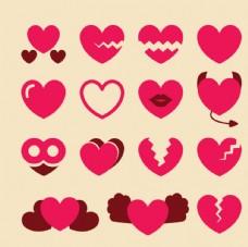玫红色爱心矢量素材