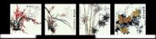 梅兰竹菊无框画图片