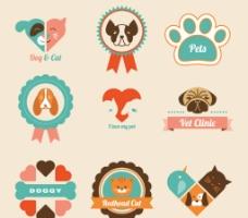 卡通宠物标签矢量图图片