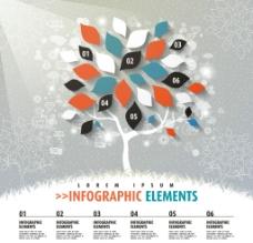 精致立体树叶商务信息图矢量素材图片